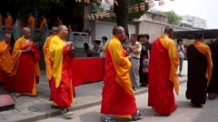 Stock Video Footage of Monks holding Ghost Festival Dharma assembly in ancient temple