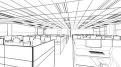 outline sketch of a interior office area - stock illustration