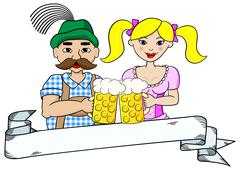 bavarian couple with oktoberfest beer and banner - stock illustration