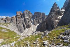 dolomiti - piz da lech and mezdi valley - stock photo