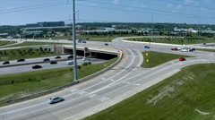 Interstate I-96 expressway interchange viewed from the air. Stock Footage