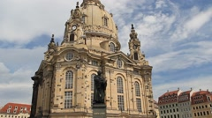Stock Video Footage of The Dresden Frauenkirche - Church of Our Lady and Martin Luther statue. Germany.