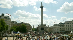 Nelson's column in Trafalgar Square, London. Stock Footage