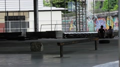 Thai skateboarders skating at skatepark Stock Footage