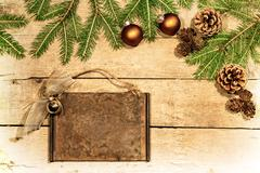 wooden background with christmas deco - stock photo