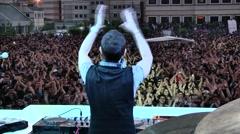 Disk Jokey, DJ is playing music - stock footage