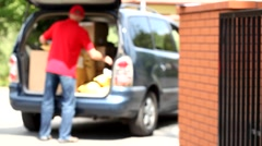 Delivery man during work Stock Footage