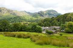 Country scene Seatoller Borrowdale Valley Lake District Cumbria England UK - stock photo