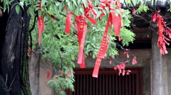 Blessing red ribbons tied on trees in temple Stock Footage