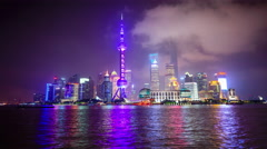 Shanghai, China Skyline at the Pudong Financial District Stock Footage
