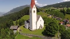 White Chapel on a small Hill - Aerial Flight Stock Footage