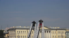 Flying on Flyboard over the Neva River in St. Petersburg. 4K. Stock Footage