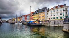 Copenhagen, Denmark Cityscape at the Nyhavn Canal Stock Footage