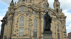 The Dresden Frauenkirche - Church of Our Lady and Martin Luther statue. Germany. - stock footage
