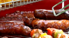 Grilled sausages Stock Footage