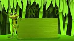 Animated frog change green background on  bamboo forest - stock footage