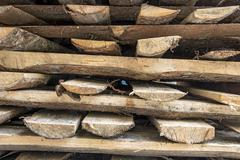a stack of firewood - stock photo