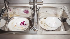 Dirty dishes time-lapse Stock Footage