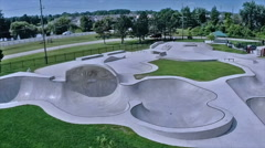 Local skateboard park viewed from the air. Stock Footage