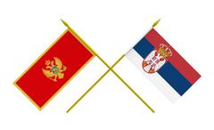 Stock Illustration of flags, montenegro and serbia