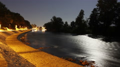 Quey at night. Moon over river, Timelapse.Kraljevo. Serbia. Ibar River. Stock Footage