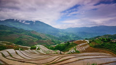 Stock Video Footage of Chinese Rice Terraces in Guangxi Province