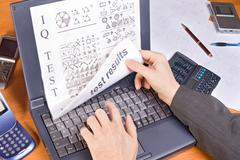Monitoring the results of IQ test on the computer Stock Photos