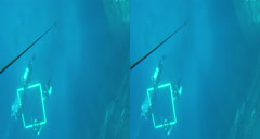 3D free dive to the bottom of blue hole Stock Footage