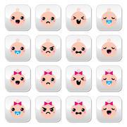 Baby boy and girl cute Kawaii buttons set Stock Illustration