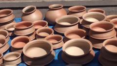 Clay pots exhibits Stock Footage