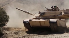 M1A1 Abrams main battle tank of 4th Tank Battalion Annual Training Stock Footage