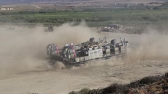 Landing Craft Air Cushion of 4th Tank Battalion Annual Training - stock footage
