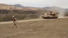 M1A1 Abrams main battle tank of 4th Tank Battalion Annual Training Stock Footage