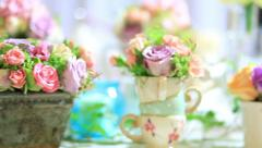 Montage of mixed flower decor - stock footage