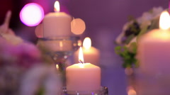 Wedding decoration with flowers and candles Stock Footage