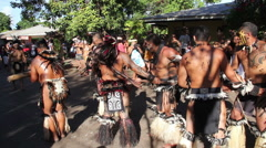 Tapati parade with men and woman pulling wood at the Easter Island, Rapa Nui Stock Footage