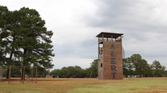 Clouds Pass Over School Watchtower Stock Footage