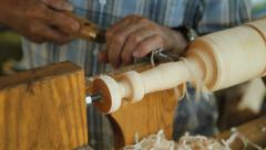 Foot operated spring pole wood lathe. Stock Footage