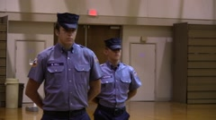 Military Disciplined Students Stand in Formation Stock Footage