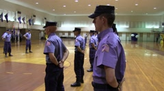 Trainees in Uniform Stand at Attention for Review Stock Footage