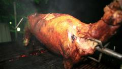 Pork on grill Stock Footage