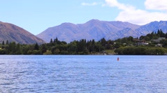 Wanaka Lake in South Island, New Zealand Stock Footage