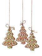 christmas tree cookies isolated - stock photo