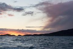 Sunset at arctic coast Stock Photos