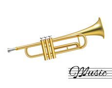 Trumpet isolated on white - stock illustration