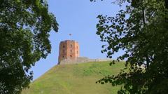 View of the hill of Gediminas' Tower from below, static Stock Footage
