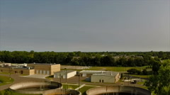 Aerial view of a municipal wastewater treatment plant Stock Footage