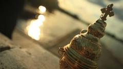 Beautiful golden censer Stock Footage