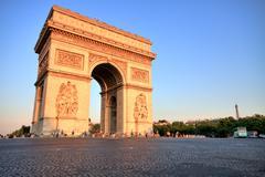 Arc de triomphe at sunset, paris Stock Photos