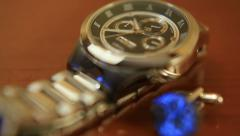 Close up of clicking wrist watch Stock Footage